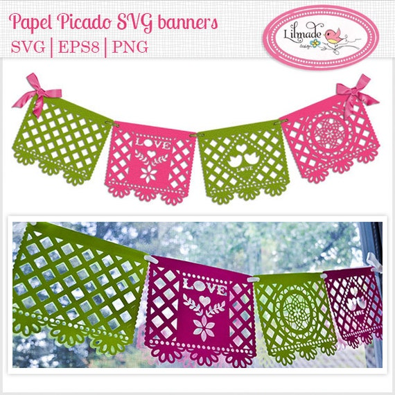 Svg Cutting Files Wedding Banner Papel Picado Party Templates Bunting Pennant Template P64