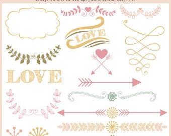 Wedding clipart, laurel clipart, heart and arrow clipart, separator clipart, love clipart, frame clipart, P149