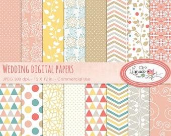 50%OFF Wedding digital paper pack, elegant bridal patterns, wedding scrapbook paper, elegant wedding decorative paper, commercial use P144