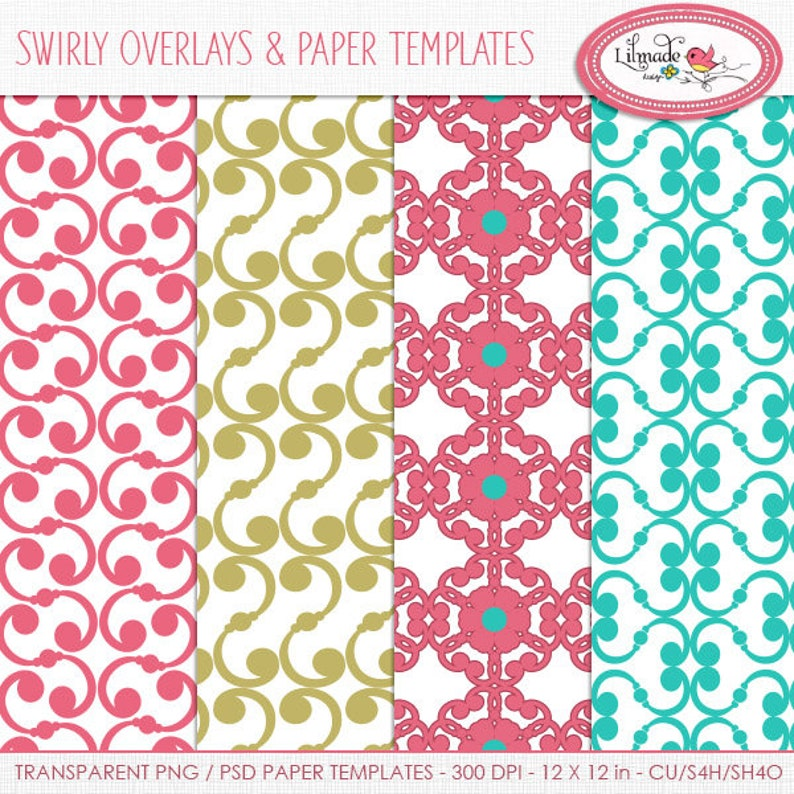 Swirly paper templates, swirly patterns, swirl overlays, filigree patterns,  PNG templates, PSD template, template to make papers, P215