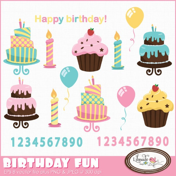 Birthday Clipart Cake Clipart Candle Clipart Cupcake Clipart