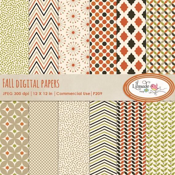 Fall Digital Paper Autumn Digital Paper Earthy Colors Etsy