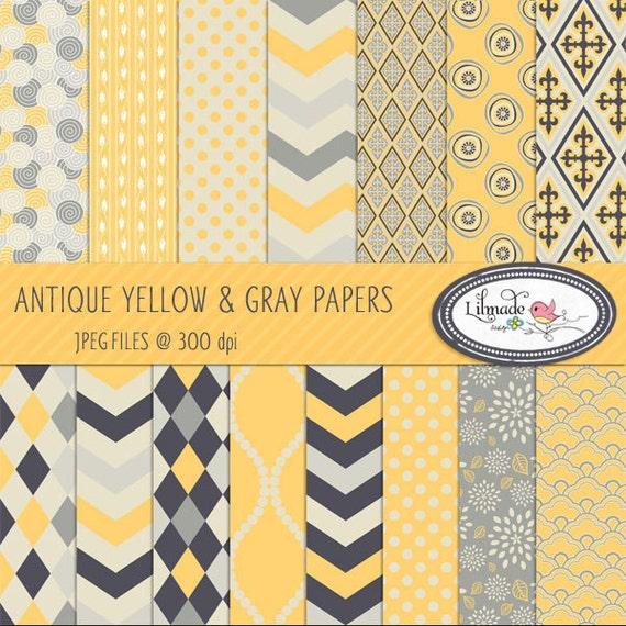 Yellow And Gray Digital Paper Digital Paper Scrapbook Paper Etsy