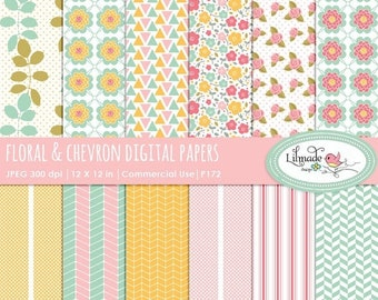 50%OFF Digital paper, digital scrapbook paper, scrapbook patterned paper, floral digital paper, chevron digital paper, P172