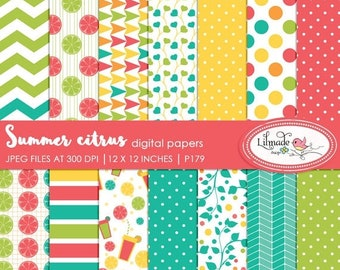 50%OFF Digital paper, summer citrus digital papers, digital scrapbook papers, patterned scrapbook papers, commercial use papers, P179