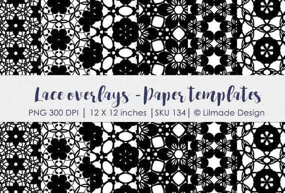 Lace Pattern Lace Paper Template Photoshop Overlay Damask Etsy