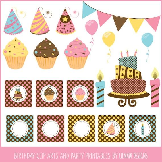 Birthday Clipart Cake Clipart Cupcake Clipart Balloon Clipart