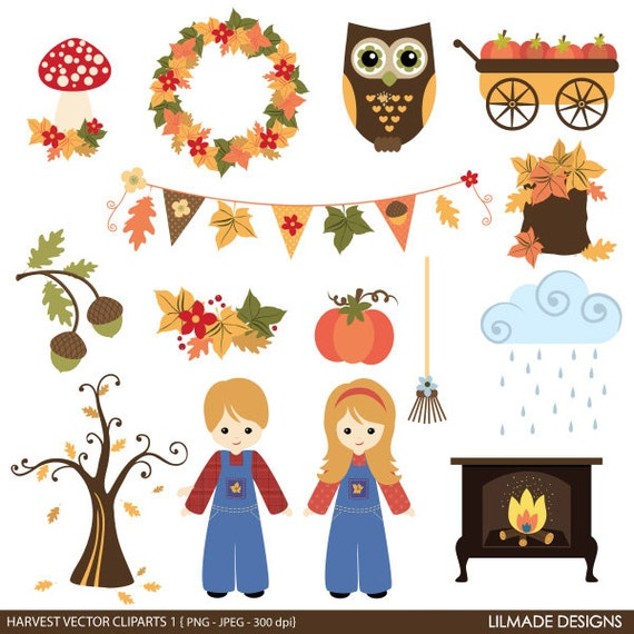 Fall and Thanksgiving clipart set fall harvest clipart ...