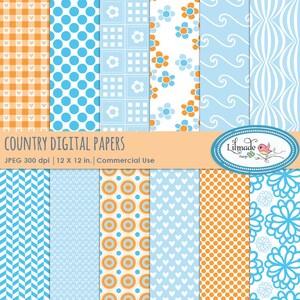 Light Bluse And Tangerine Digital Paper Pack Gingham Gingham Etsy