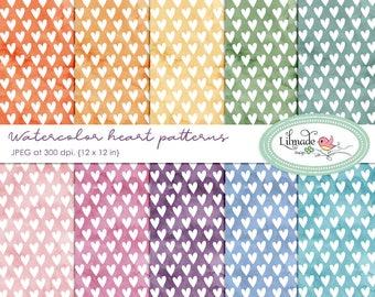 Digital paper, watercolor paper, heart patterns, watercolor heart patterns, 1 dollar deals, scrapbook paper, planner sticker paper,P427