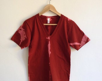 Hand Dyed Deep Red and Pink Vneck T-shirt