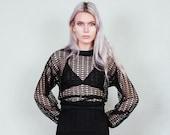 Moirai - Loose weave, open knit sheer black sweater - boho rock