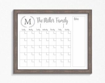 Dry Erase Calendar Printable Chalkboard Cutomizable Mulitple Sizes Available Digital File