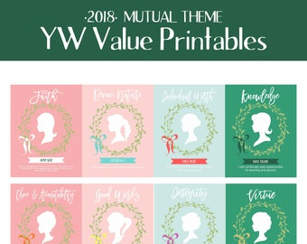 LDS Young Women's Values-Printable Set-Includes 8.5x11, 5x7 & 4 per page (handout)-Instant Download-Mormon-LDS-YW