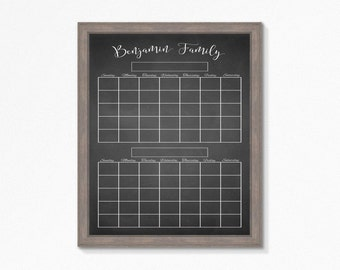 Chalkboard Calendar Printable 2 Month Veiw - Fully Cutomizable Mulitple Sizes available