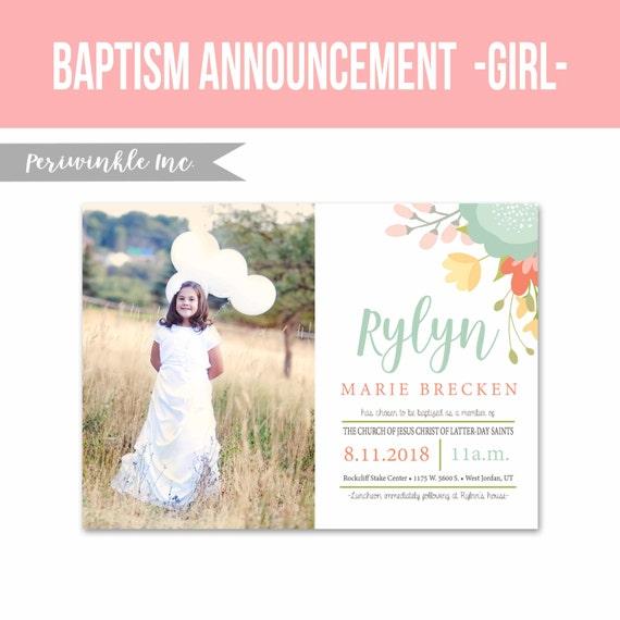 LDS bautismo invitación 5 x 7 tamaño imprimible-niña bautismo