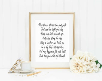 Irish Blessing Printable-Irish Print-Welcome Calligraphy printable-Instant Download printable-Mulitiple Sizes Included