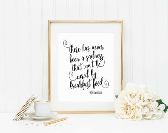 Ron Swanson Quote-Parks and Recreation Quote-Breakfast Food-diy instant download printable-mulitiple sizes included-confetti printable