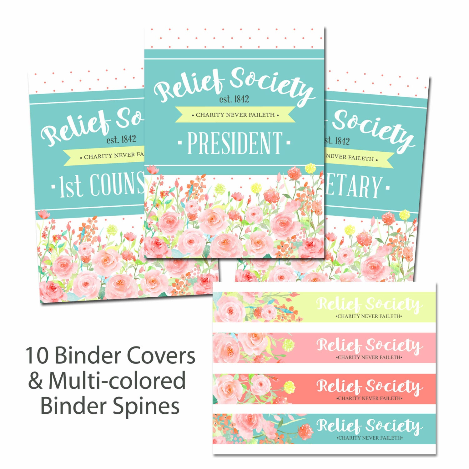 LDS Relief Society Binder Covers & Spines-Instant Download