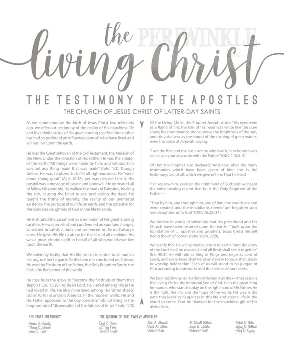 picture about The Living Christ Printable identify LDS-Family members Proclamation-Dwelling Christ Content of Religion fastened-Several Measurements Alternatives-Electronic Information-LDS poster printables-LDS-Gray Terms