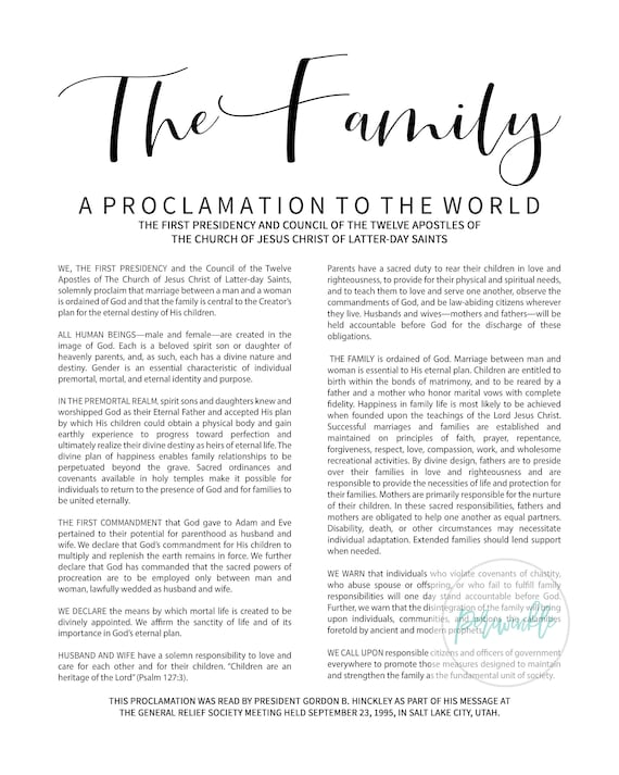 photo about The Family a Proclamation to the World Free Printable called LDS The Residing Christ Relatives Proclamation Printable-Black Phrases-Immediate Down load-Electronic Data files-LDS poster printables-various dimensions