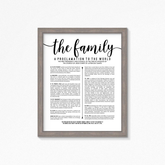 lds family proclamation printable multiple size choices black etsy