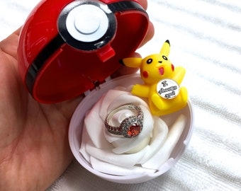 RED Classic PROPOSAL PoKEBALL u2022 Ring Box Case Container u2022 Poke Ball Cosplay Kawaii Costume u2022 Wedding Engagement USA  I Choose You  Pikachu & Pokeball | Etsy