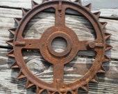 Antique Vintage RUSTIC 14 3 4 quot Diameter 26-Teeth Farm Agricultural Gear Wheel AS FOUND