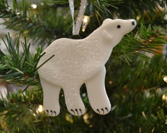 polar bear ornament christmas ornament fused glass alaska animal arctic animal christmas decor home decor glass bear - Polar Bear Christmas Decorations