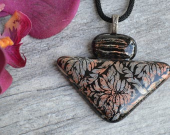 Fused Glass Pendant, Mica Pendant, Statement Necklace, Unique Necklace, Organic Pendant, Gift for Her