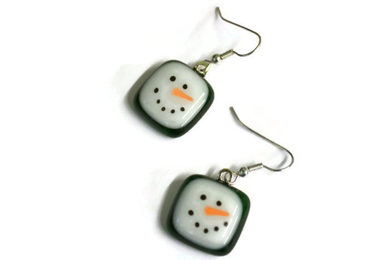 Hand Painted Snowman Face Christmas Earrings Green Dangle Earrings Fused Glass Snowman Earrings