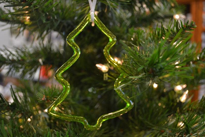 Tree Christmas Ornament Fused Glass Suncatcher Christmas Decor Window Decor Home Decor Glass Tree Sun Catcher Green
