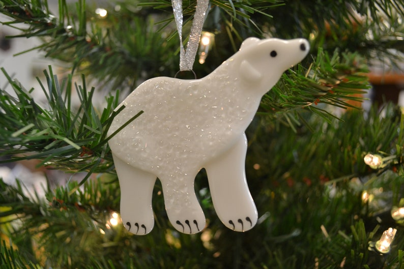 Polar Bear Ornament Christmas Ornament Fused Glass Alaska Animal Arctic Animal Christmas Decor Home Decor Glass Bear