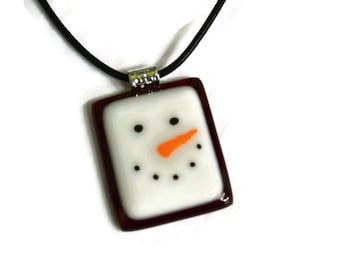 Snowman Necklace, Snowman Pendant, Fused Glass, Snowman Face, Christmas Jewelry Red, Hand Painted