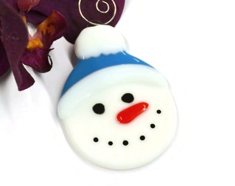 Snowman Christmas Ornament, Fused Glass, Christmas Decor, Tree Decor, Snowman Ornament, Light Blue, Hand Painted