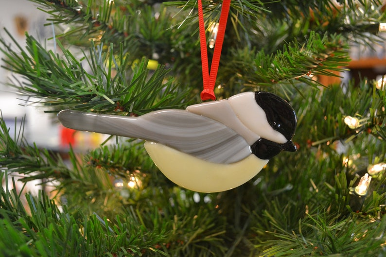 Chickadee Ornament Fused Glass Christmas Ornament Suncatcher Window Decor Christmas Decor Bird Watchers Gift Bird Lovers Gift