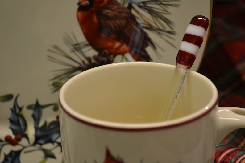 Christmas Swizzle Stick Fused Glass Candy Cane Coffee Etsy