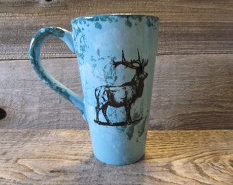 Turquoise Tall Coffee Mug with Elk, Ready to Ship