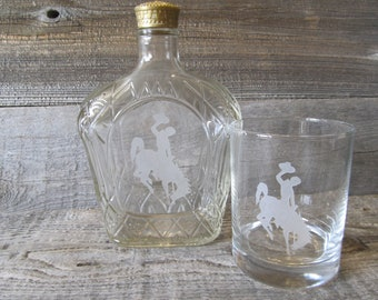 Etched Crown Royal Bottle with Wyoming Bucking Horse, 750 ml