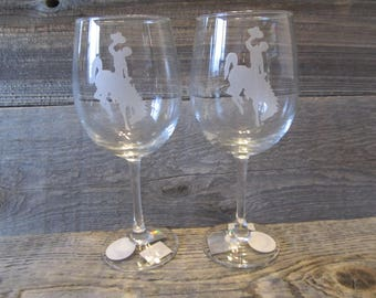 A pair of 15 oz. Etched  Wine Glasses - Wyoming Cowboys - Made to Order