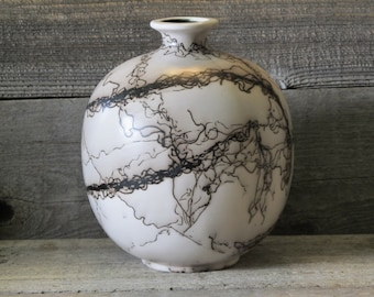 """Lonetree 8"""" Horse Hair Pottery Vase - Made in Wyoming"""