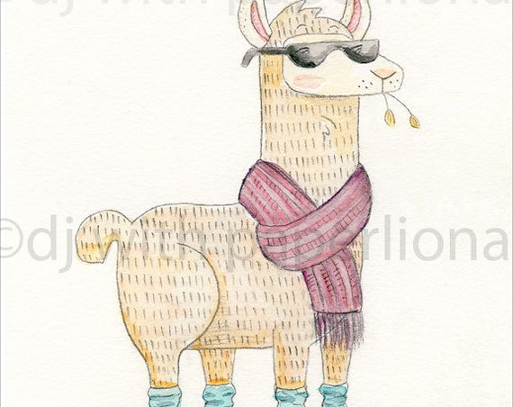 Cool Llama 8x10 Print **FREE SHIPPING**