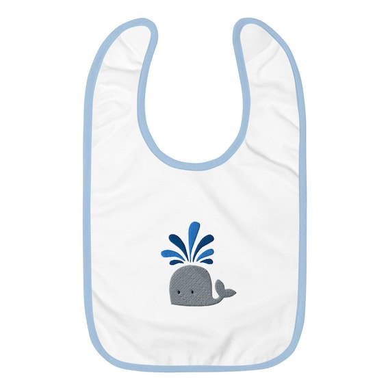 Whale Spouting Water Embroidered Baby Bib