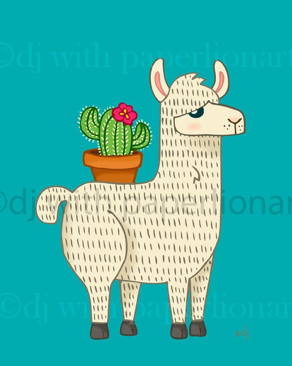 Llama Carrying Cactus 8x10 Print **FREE SHIPPING**