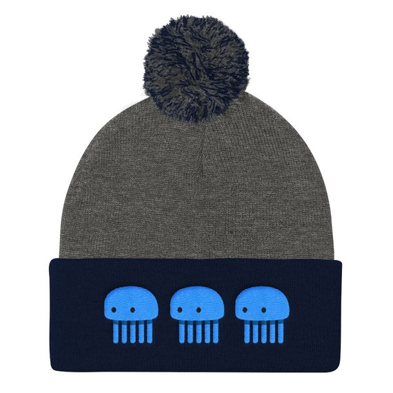Blue Jellyfish Pom Pom Knit Cap Beanie *Embroidered*