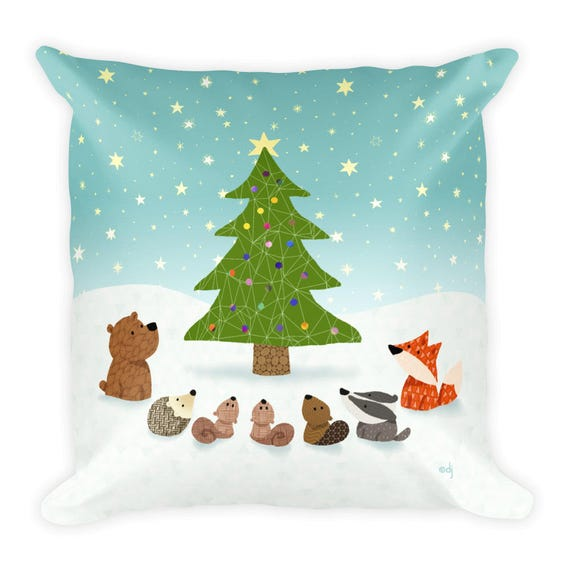 Winter Woodland Animal Christmas Square Pillow 18x18 inches