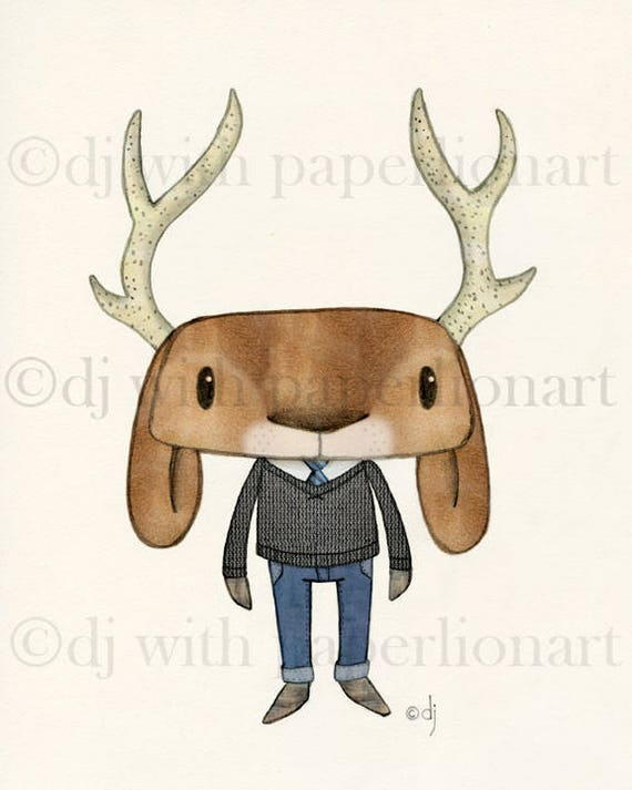 All Dressed Up  Deer/Jackalope Print  **FREE SHIPPING**