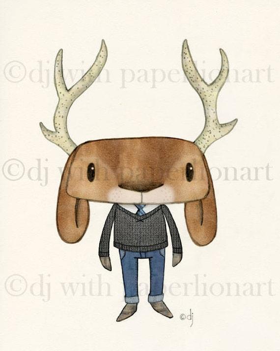 All Dressed Up  Deer/Jackalope Print  **FREE SHIPPING**