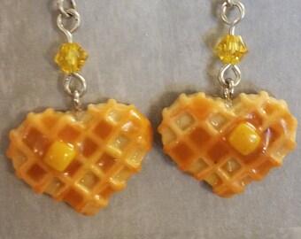 Waffle heart earrings - Food Earrings