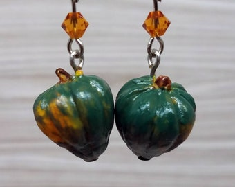 Acorn Squash Earrings, Green and Orange Jewelry, Fruit Earrings, Botanical Jewelry